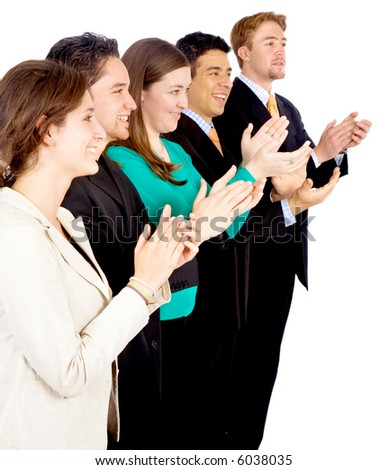 successful business team applauding isolated over a white background - stock photo