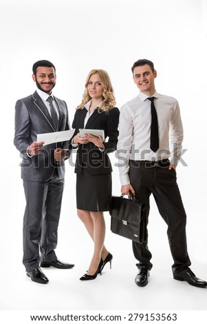 Successful business team. Business partners. - stock photo