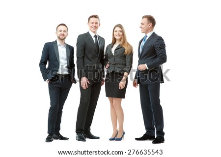 Successful business team. Full length of group of confident business people in formal wear standing close to each other and smiling. Isolated on white. - stock photo