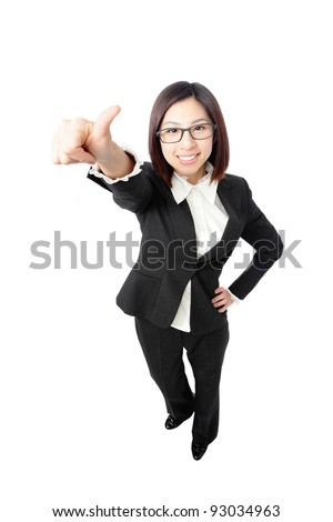 Successful business woman give you an excellent sign, full length portrait view from high angle isolated on white background. - stock photo