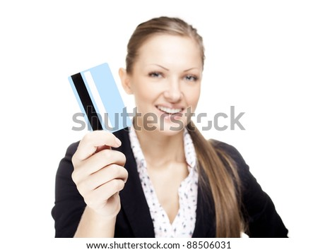 successful business woman holding credit card - stock photo