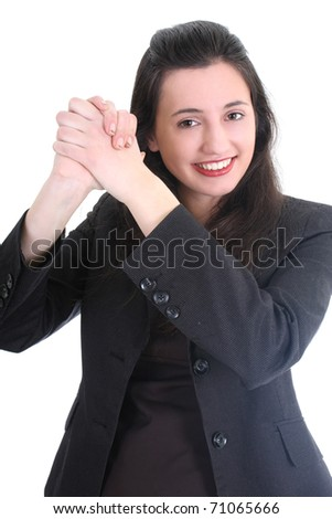 Successful business woman in black suit over white - stock photo