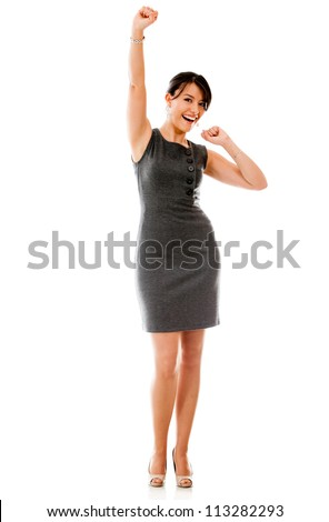 Successful business woman looking excited - isolated over a white background - stock photo