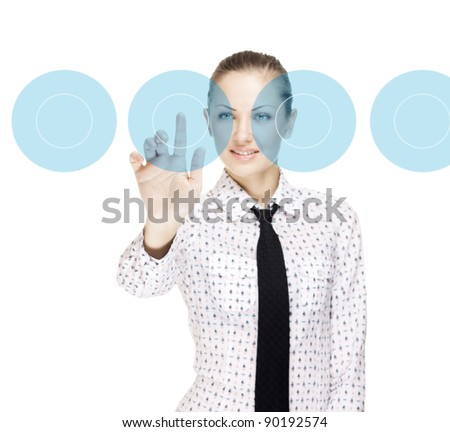 successful business woman making use of innovative technologies - stock photo