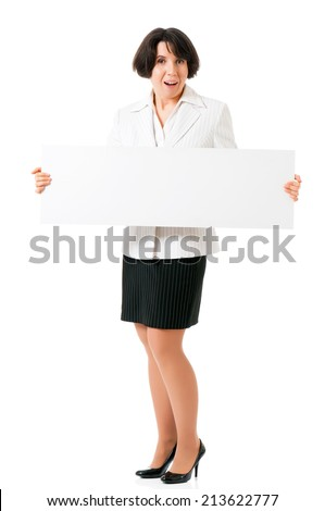 Successful business woman or teacher with white blank, isolated on white background - stock photo