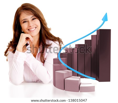 Successful business woman with a growth graph - isolated over white - stock photo