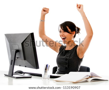 Successful business woman with arms up - isolated over a white background - stock photo