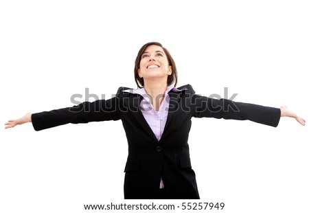Successful business woman with arms up isolated over a white background - stock photo