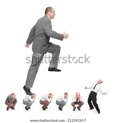 Successful businessman. Conceptual image - business rivalry metaphor. - stock photo