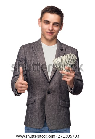 Successful Businessman Holding Money And Showing Thumb Up - stock photo