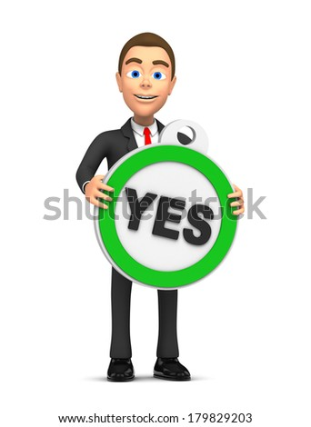 successful businessman holds yes - stock photo