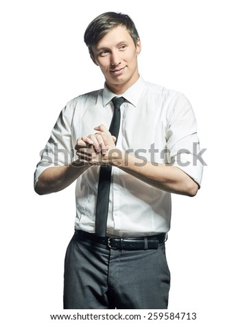 Successful businessman in shirt and tie gesturing success sign and smiling isolated on white background. - stock photo