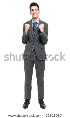 Successful businessman isolated on white - stock photo