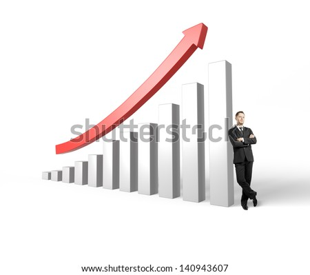 successful businessman leaning on success graph with a red arrow - stock photo