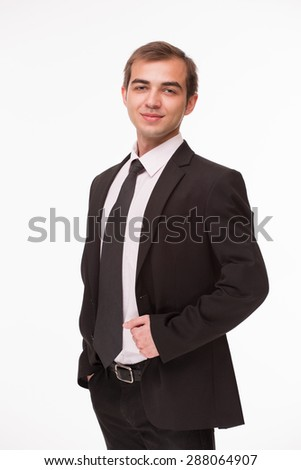 Successful businessman looking so smart. Man in business suit isolated on white background. - stock photo
