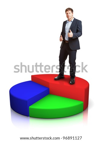 Successful businessman on pie chart - achievement concept - stock photo