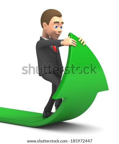 successful businessman raises profit - stock photo