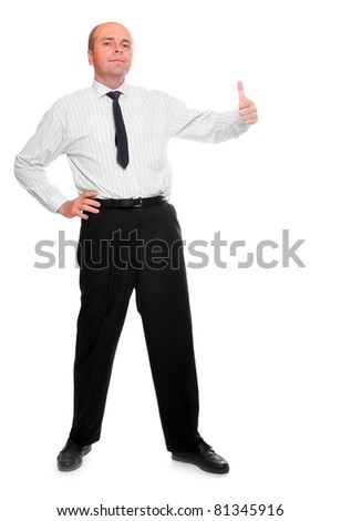 Successful businessman showing his thumb up. - stock photo
