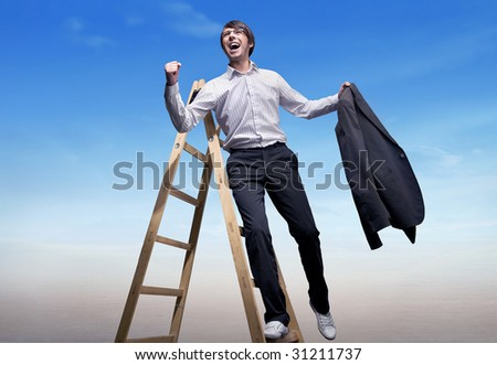 Successful businessman standing on a ladder , over blue sky background - stock photo
