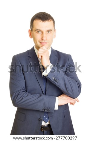 Successful businessman with finger on chin, isolated on white - stock photo