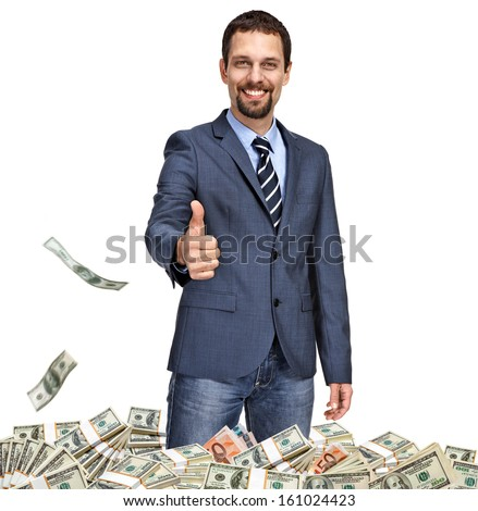 Successful businessman with thumb up / business person showing thumbs up surrounded by money - isolated on white background  - stock photo