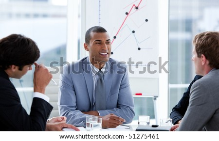 Successful businessmen having a brainstorming in a company - stock photo