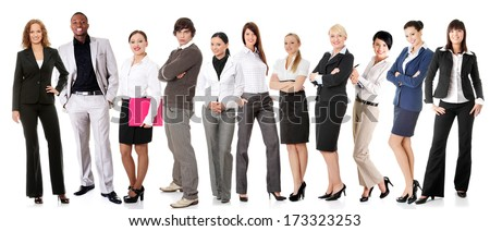Successful businesspeople smiling to the camera, isolated on white.  - stock photo