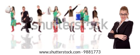 Successful businesswoman over businesspeople in background. - stock photo