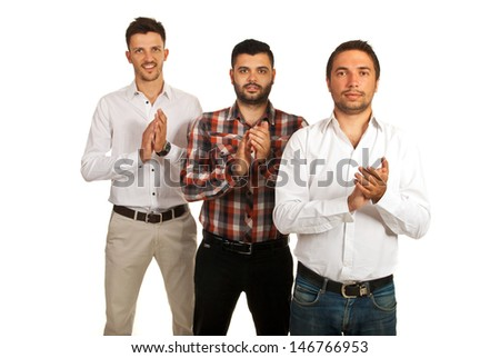 Successful casual business men standing in a row and clapping their hands isolated on white background - stock photo