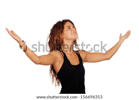 Successful casual girl thanking isolated over white - stock photo
