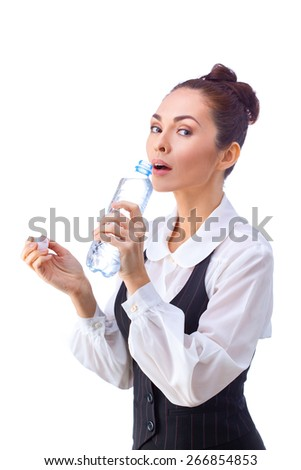 Successful caucasian businesswoman  having a break with fresh water. This photo has been produced with these professionals : make-up artist, hair dresser and stylist. A professional retoucher gave it - stock photo