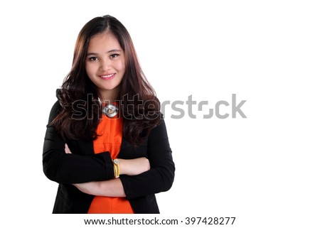 Successful confident young Asian businesswoman posing, isolated on white background for copy space - stock photo