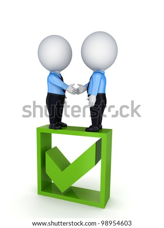 Successful contract concept.Isolated on white background.3d rendered. - stock photo