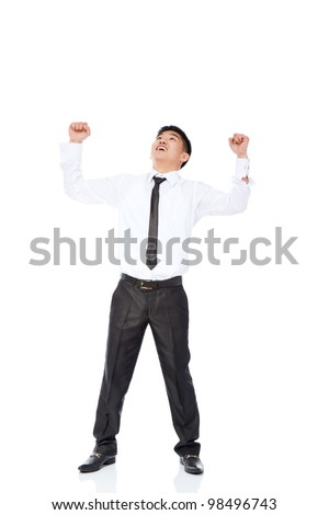 Successful excited asian young business man hold fist, full length portrait of businessman with arms wide open wear shirt and tie isolated over white background - stock photo