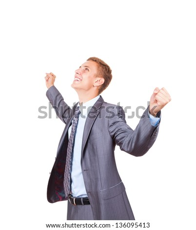 Successful excited business man happy smile looking at camera hold fist ok yes gesture, handsome young businessman with raised hands arms, wear elegant shirt and tie isolated over white background - stock photo