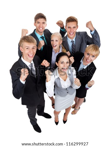 Successful excited Business people group team, young businesspeople standing together smile hold fist ok yes gesture with raised hands arms, top angle view full length Isolated over white background - stock photo