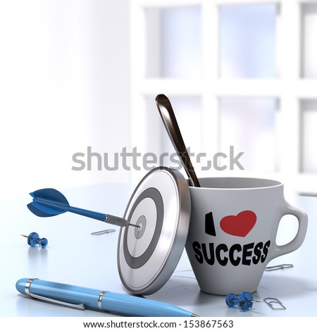Successful Executive Concept consisting of one mug where it is written I love success and one dartboard with a dart hitting the bullseye. 3D render image - stock photo