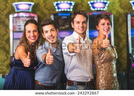 Successful Friends at Casino - stock photo