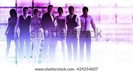 Successful Group of Business People at the Office 3d Illustration Render - stock photo