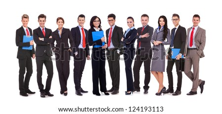 Successful happy business team formed by business men and women, isolated on white - stock photo