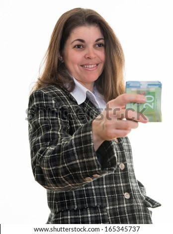 Successful Hispanic woman handing out Canadian dollars. Female entrepreneur doing business in Canada. Giving or donating money. Female success in a multicultural society - stock photo