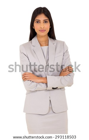 successful indian career woman portrait with arms crossed - stock photo