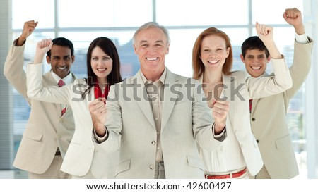 Successful international business people in a business building - stock photo