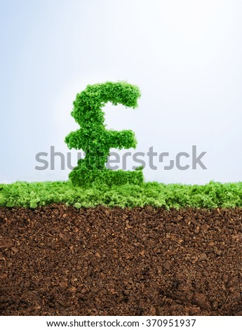 Successful investment concept with grass British Pound symbol shape - stock photo