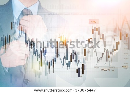 Successful Investor Concept Photo. Businessman, Stats and Line Graphs Concept. Currency and Stock Market Trading. - stock photo