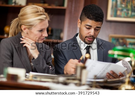 successful lawyers or businessman in office - stock photo