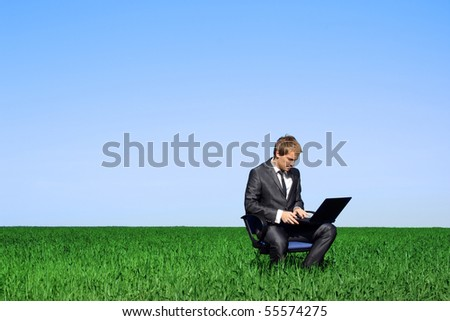 Successful man on the field with laptop - stock photo