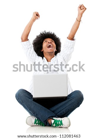 Successful man online with arms up - isolated over white background - stock photo