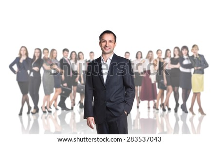 Successful man standing with their staff in background isolated on white - stock photo