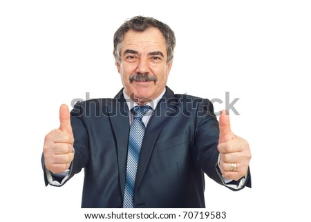 Successful mature business man giving thumbs up and smiling isolated on white background - stock photo